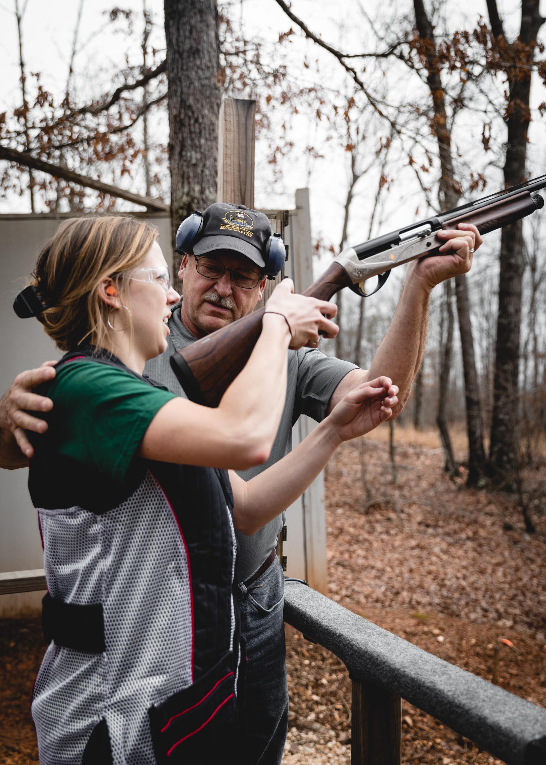 Woman Being Taught Gun Shotgun Safety